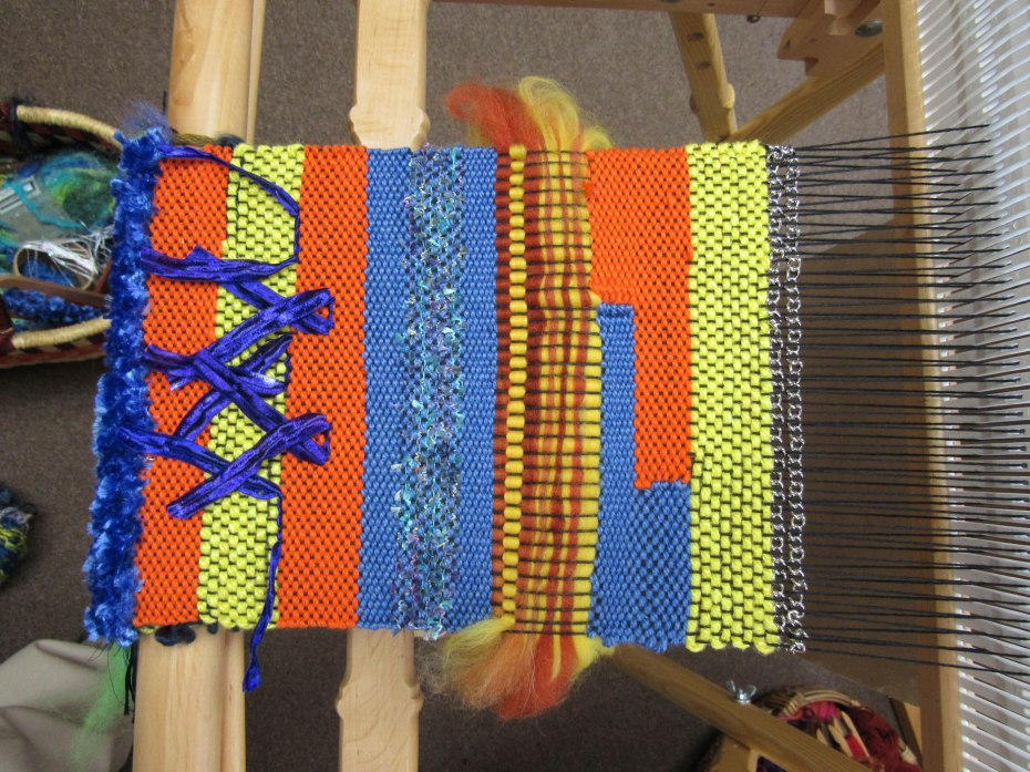 My Saori Weaving Class is continuing. Fun and exciting! Near the beginning of class.