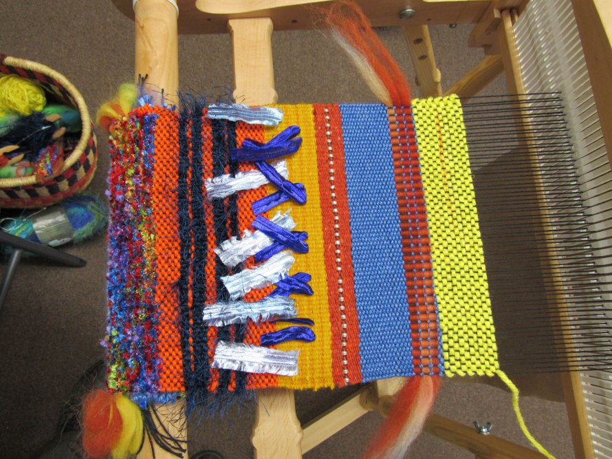 Saori weaving class almost done. Can't wait to see the finished product!