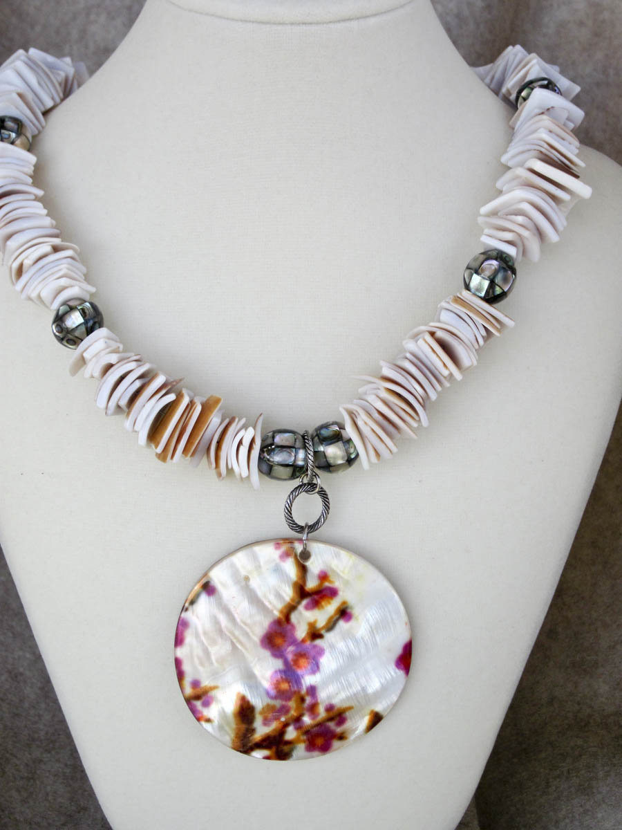 Seashells and Abalone Necklace and Earring Set $75. Free shipping.