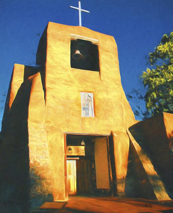San Miguel Mission, Santa Fe, New Mexico. Artwork by Steve Bailey ©